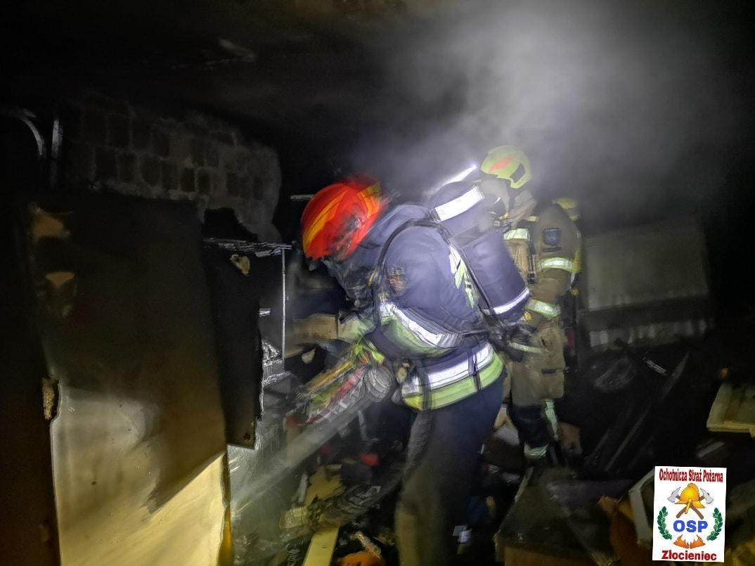 Złocieniec - pożar w budynku jednorodzinnym
